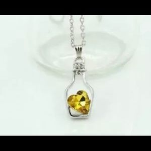Jewelry - Gold Topaz Heart in A Bottle Pendant Necklace